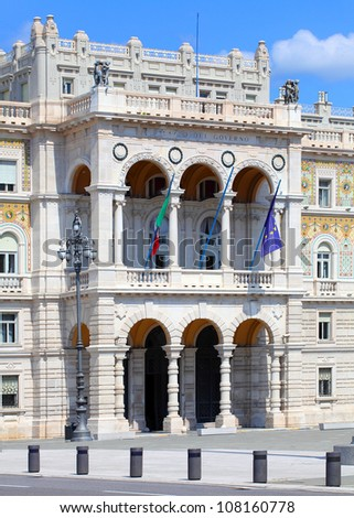 Trieste Palace Of The Governor on a Piazza Unit� dâ��Italia (Square of The Concorde Italy). Trieste, Italy. - stock photo