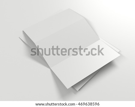 Trifold White Paper Brochure Mockup Template Stock Illustration