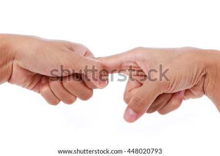 Trigger finger.Woman stretching Forefinger isolated on white background.
