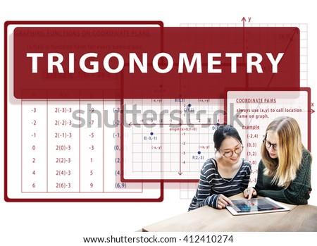 Trigonometry Mathematics Calculation Chart Concept - stock photo
