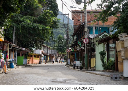 TRINDADE, RIO DE JANEIRO - MAY 3, 2014: View from Avenida Principal avenue from Trindade Village, near Paraty. The village is known for the beautiful beaches.