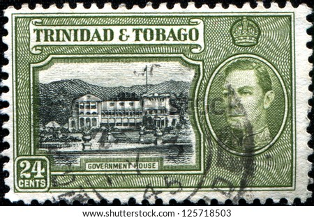 TRINIDAD AND TOBAGO - CIRCA 1938: A stamp printed in Trinidad and Tobago shows Government House, circa 1938