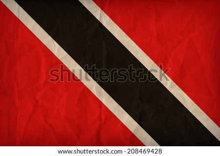Trinidad and Tobago flag pattern on the paper texture ,retro vintage style