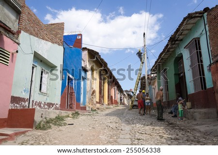 TRINIDAD, CUBA - February 2015 - Electricity works in the UNESCO-protected part of the city on February 01,2015 - Even in 2015 Cuban electricity system remains primitive