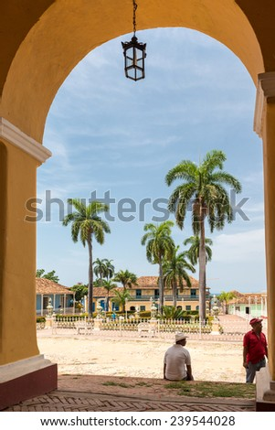 TRINIDAD,CUBA-JULY 22,2014: Trinidad is the eighth village founded by Spanish colonizers in Cuba 500 years ago, it a UNESCO world heritage site and a major tourist landmark in the Caribbean island. - stock photo