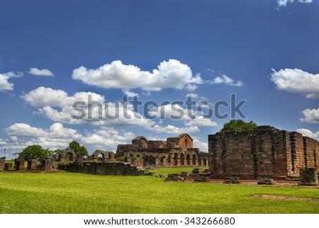TRINIDAD DE PARANA JEZIUTES RUINS, PARAGUAY - NOV 27, 2014: Ruins of the Jesuit Guarani reduction La Santisima Trinidad de Parana, UNESCO World Heritage Site, Paraguay, South America - stock photo