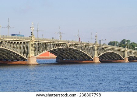 Trinity bridge in St. Petersburg - stock photo
