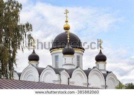 Trinity Cathedral. St. Tikhon's Monastery of Transfiguration diocesan - convent of Lipetsk and Yelets Diocese of the Russian Orthodox Church, located 7 kilometers north of the city of Zadonsk. - stock photo