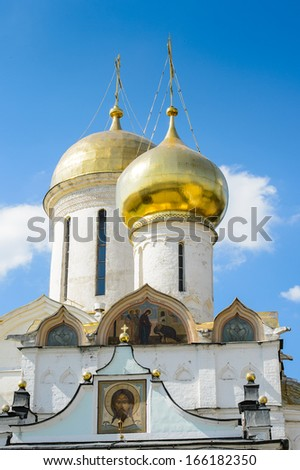 Trinity Cathedral, Trinity Sergius Lavra in Sergiyev Posad, Moscow District, Russia. - stock photo
