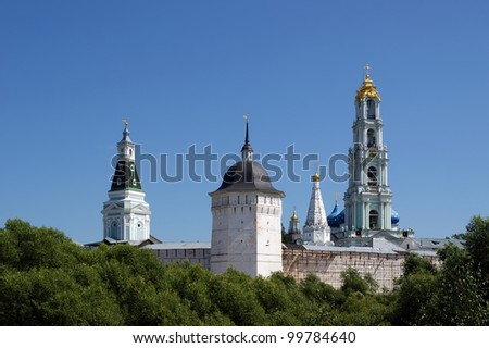 Trinity Sergius Lavra in Sergiev Posad. Russian Federation. UNESCO World Heritage Site. - stock photo