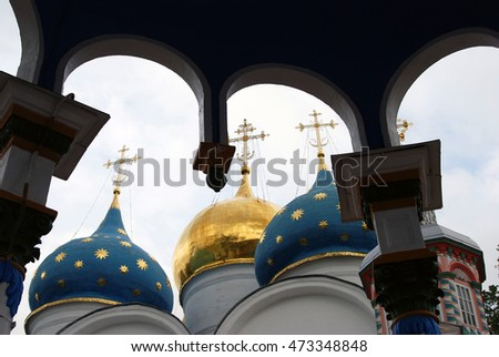 Trinity Sergius Lavra (monastery). Popular touristic landmark, UNESCO World Heritage Site. Color photo.