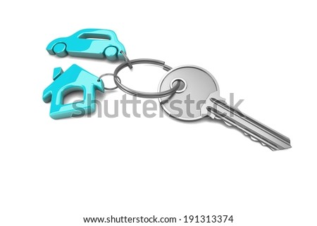 Trinket at the key, Concept of success. 3d visualization - stock photo