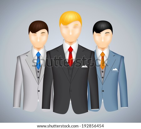 Trio of businessmen in suits each wearing a different colored outfit with a blond haired man in the foreground  illustration
