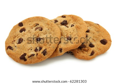 Trio Of Chocolate Chip Cookies Isolated On White Background - stock photo