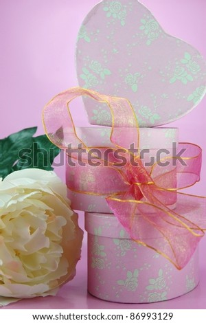Trio of pink gift boxes