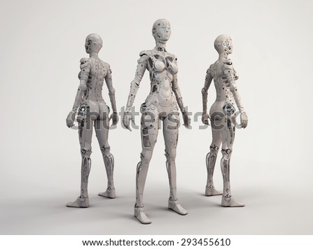 Trio of the robots girls - stock photo