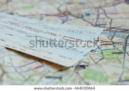 Trip planning - two train tickets on the map of Paris