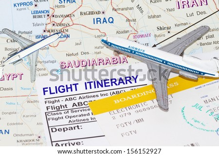 Trip to middle east with plane and flight itinerary