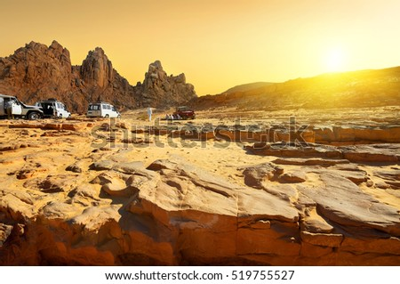 Trip to the Egyptian desert at sunset