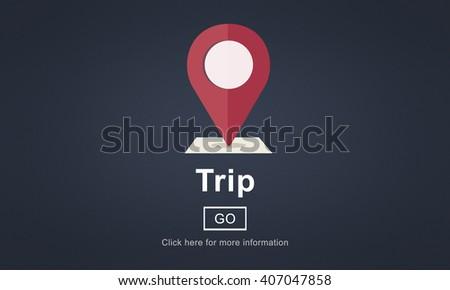 Trip Travel Destination Direction Map Concept - stock photo