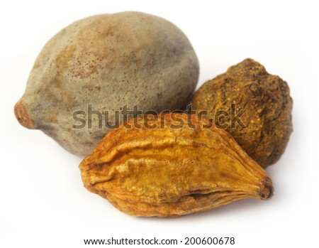 Triphala, a combination of ayurvedic fruits, of Indian subcontinent - stock photo