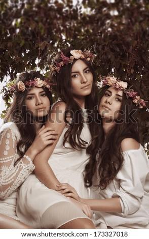 Triple beauty portrait of women - stock photo