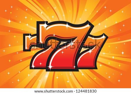 Triple Lucky Sevens burst vector illustration - stock photo