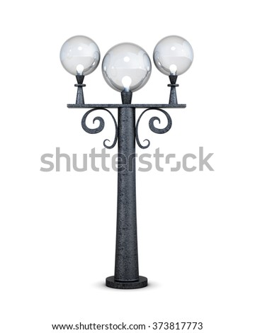 Triple round street lamp on a white background. 3d rendering.