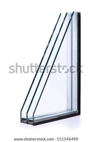 Triple windows insulated glazing isolated on white - stock photo
