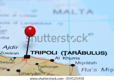 Tripoli pinned on a map of Africa  - stock photo