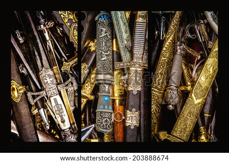 Triptych - Cold Steel. Collage of three photos of cold steel arms, mainly naval daggers, piled up for sale as a souvenirs at a fair place of the history festival. Texture was added to all the images - stock photo