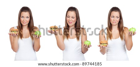 Triptych image of young woman having a dilemma: greasy hamburger or an apple? Isolated on white