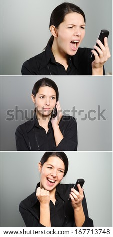 Triptych showing a womans reaction to a phone call as she speaks on her mobile phone ranging from anger and yelling, through a normal conversation to excited jubilation and cheering - stock photo