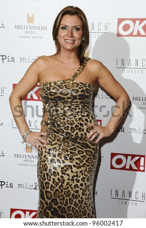 Trisha Penrose arriving for the Pia Michi Prom wear fashion show at the Millenium Hotel, London. 15/02/2012 Picture by: Steve Vas / Featureflash