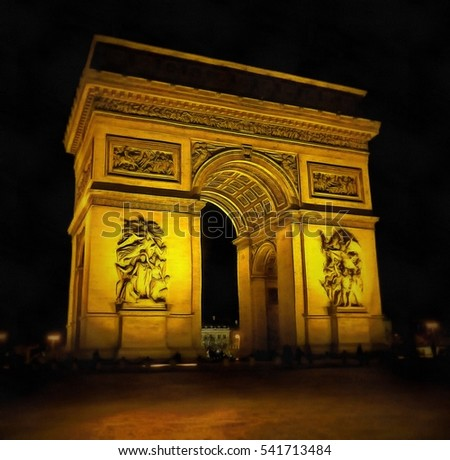 Triumph Arch at night time, Paris, France. Illustration