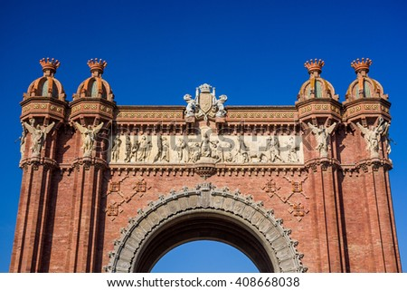 Triumph Arch with a blue sky in Barcelona, Spain - stock photo