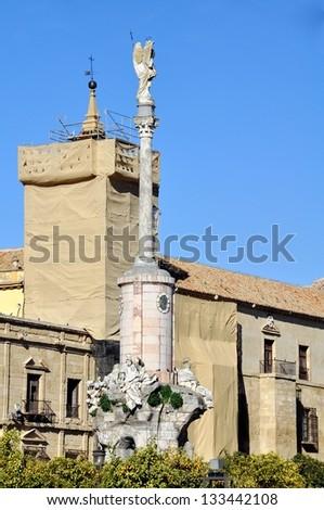 Triumph of Saint Rafael (Triunfo de San Rafael), historic 18th century monument in the city of Cordoba, Spain, Andalusia region. - stock photo