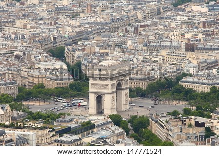 Triumphal Arc in Paris. View from above. - stock photo