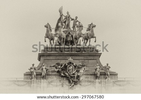 Triumphal arch (Arc de Triomphe) in the Cinquantenaire park in Brussels, was planned for National Exhibition of 1880 to commemorate 50th anniversary of the independence of Belgium. Antique vintage. - stock photo