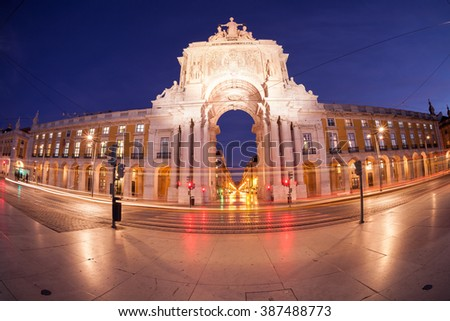 Triumphal arch at Commerce Square. Lisbon, Portugal
