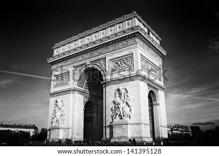 Triumphal Arch,  black and white - stock photo