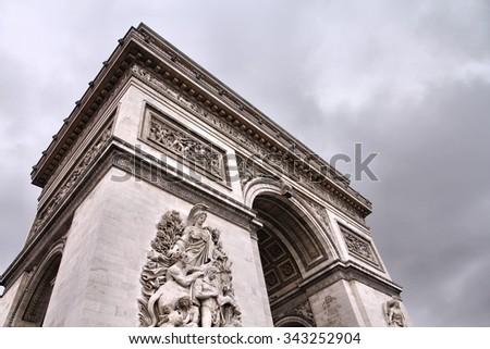 Triumphal Arch in Paris - stock photo