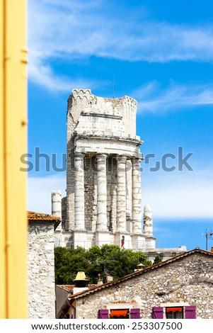 Triumphal Arch, La Turbie, Provence, France - stock photo
