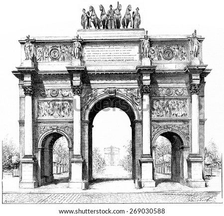 Triumphal arch of the Place du Carrousel, vintage engraved illustration. Paris - Auguste VITU  1890. - stock photo