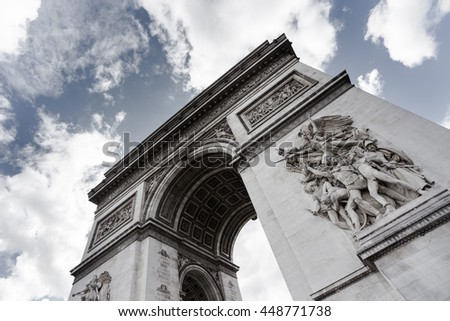 Triumphal arch. Paris. France. View of Place Charles de Gaulle. Famous touristic architecture landmark in summer. Napoleon victory monument. Symbol of french glory. World historical heritage. Toned - stock photo