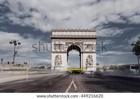 Triumphal arch. Paris. France. View of Place Charles de Gaulle. Famous touristic architecture landmark in summer day. Napoleon victory monument. Symbol french glory. World historical heritage. Toned - stock photo