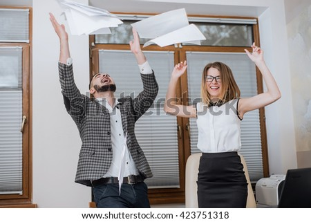Triumphant office worker succeeded in striking a good deal. Happy businessmans. Good job! - stock photo