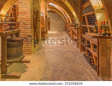 "TRNAVA, SLOVAKIA - MARCH 3, 2014: Indoor of wine cellar of great Slovak producer ""Mrva and Stanko"". - stock photo"
