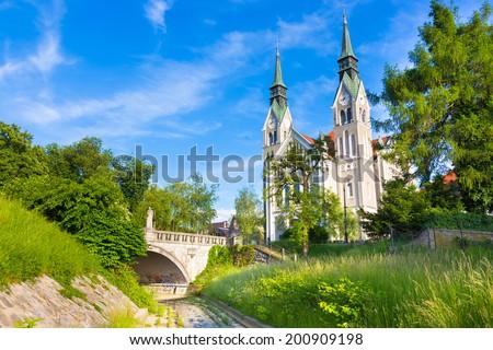 Trnovo Church also Church of St. John the Baptist, Ljubljana capital of Slovenia, Europe. - stock photo