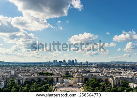 Trocadero aerial view and modern buildings in the background from the Eiffel Tower, Paris. - stock photo